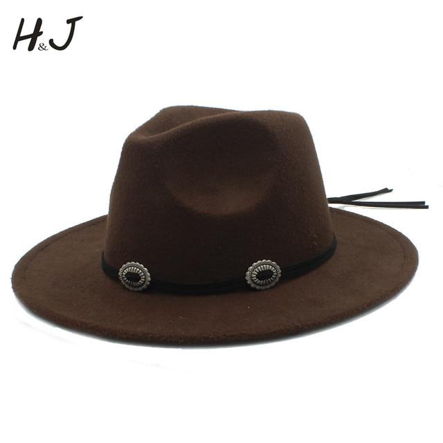 5a8ba1111 US $10.68 35% OFF|Women Men Wool Fedora Hat For Elegant Lady Gentleman  Winter Autumn Wide Brim Jazz Church Godfather Dad Sombrero Sun Caps -in  Fedoras ...