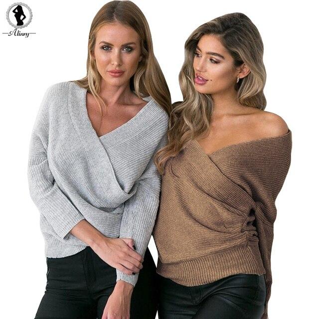 Oversized Trui V Hals.Alinry 2018 Mode Winter Uit Schouder Gebreide Trui V Hals Oversized