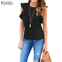 ZANZEA Women Blouse 2017 Summer Sexy O Neck Sleeveless Ruffles Shirts Casual Slim Solid Blusas Plus
