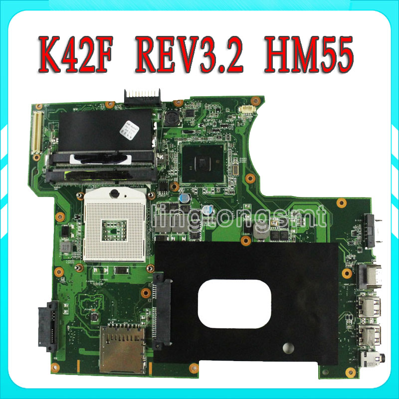 Original K42F Rev 2.0 GMA HD USB2.0 HM55 PGA989 DDR3 VRAM Main Board For Asus K42F Notebook Motherboard P42F 100% fully tested laptop motherboard for asus vivobook x202e dh31t x202e rev 2 0 60 nfqmb1700 b02 987 cpu hm70 gma hd good