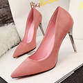 Free shipping spring new suede high-heeled shoes with thin with the shallow mouth pointed shoes OL black work shoes