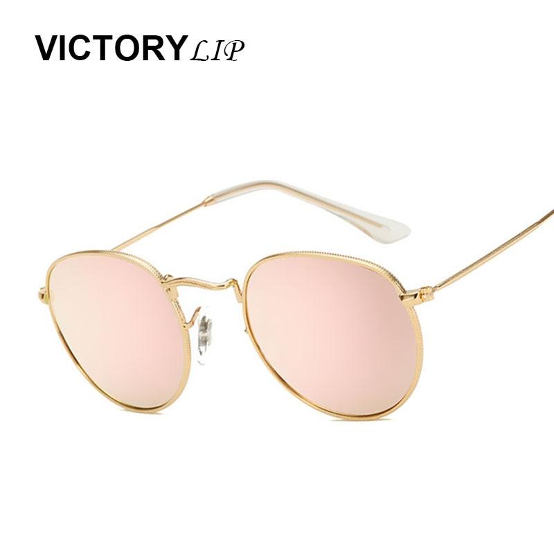 5c0ebe1c64 VictoryLip Round Mirror Pink Men Women Mirror Sunglasses Brand Designer  Fashion Sun Glasses Vintage Metal Frame
