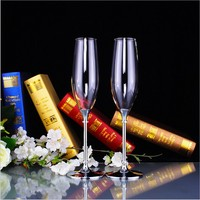 2pcs Silver Color Wedding Champagne Red Wine Glasses With Crystal 2 Rings Champagne Glass Decorations Flute