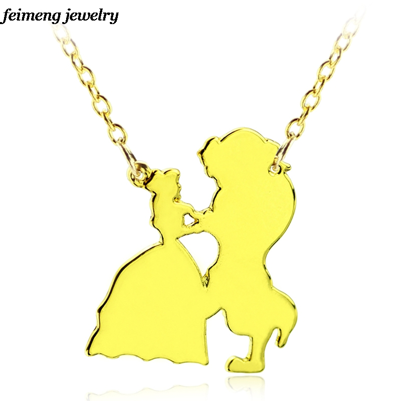 Hot Movie Beauty and the Beast pendant &Necklace Fashion jewelry for Girl Women Gift Necklace Steampunk Gold Color Charm Jewelry