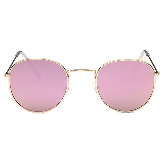2017 Fashion Round Sunglasses Women Brand Designer Glasses Mirror Sun Glasses Rose Gold Metal Lenses