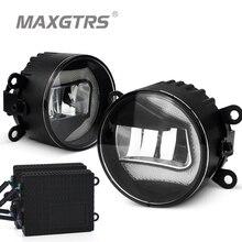 2x Универсальный Автомобильный передний бампер DRL COB светодиодный противотуманный светильник s диаметр 9 см дневной ходовой светильник Противотуманные фары для Ford Toyota