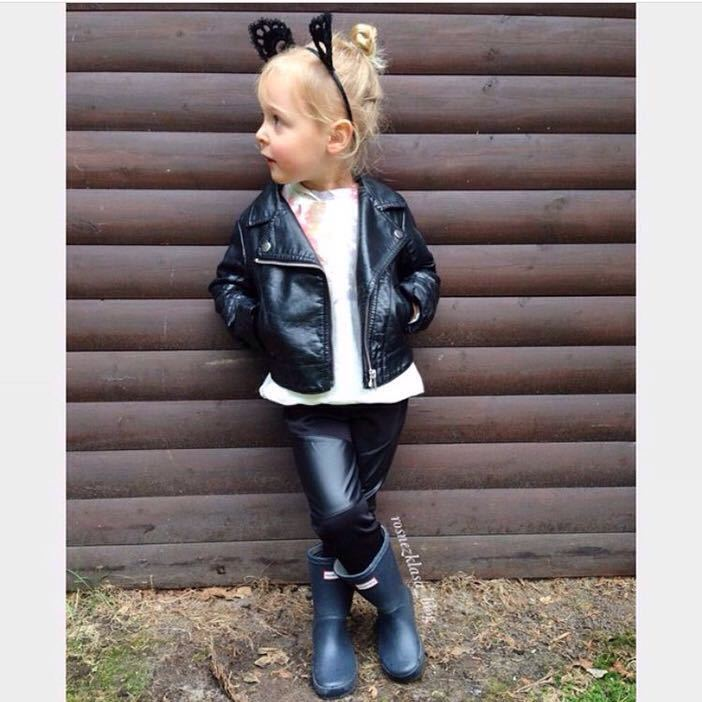 Wind PU Leather Leather Coat Baby Boys and Girls Short Children Jacket 17