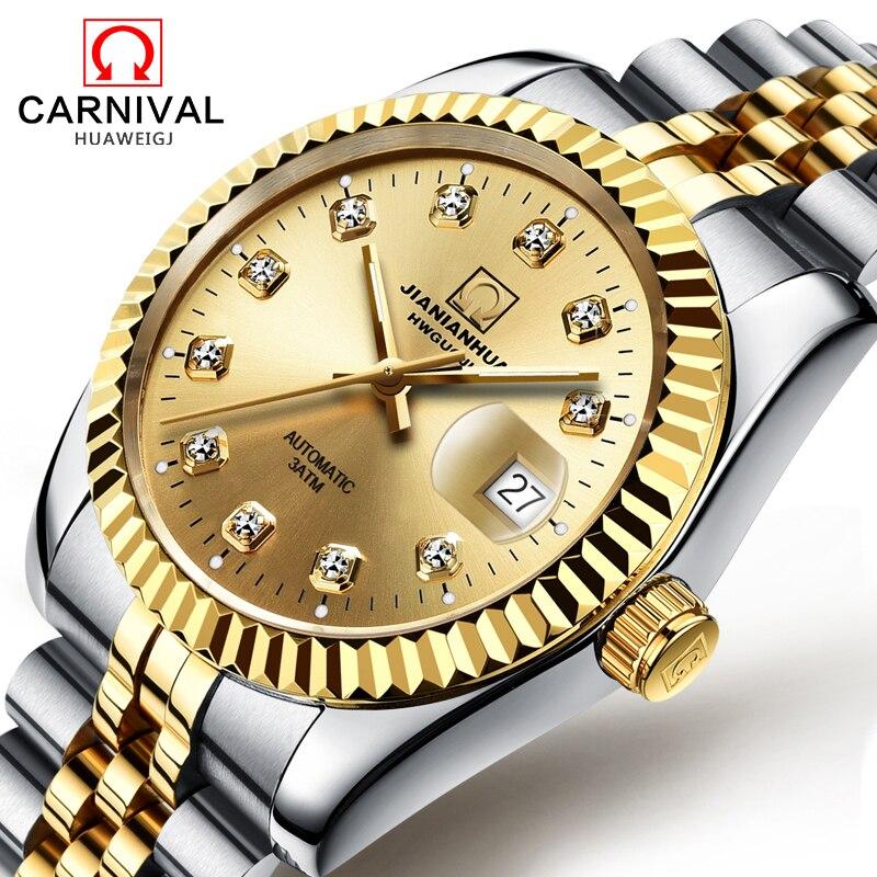 Carnival Man Automatic Mechanical diamond Dial Luminous Watch Gold Stainless Steel Waterproof Date Watches цена и фото