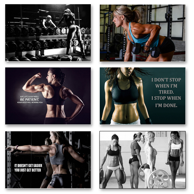 6pcs Sex Motivational Bodybuilding Quotes Gym Art Silk Posters Print