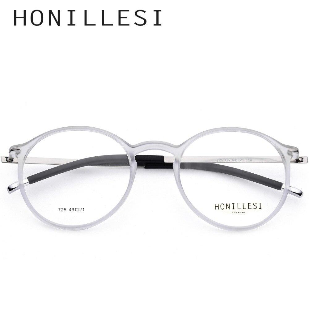 7041baae7 HONILLESI TR90 Alta Qualidade Rodada Óculos de Armação Homens Óculos de  Prescrição Do Vintage Óculos Óculos de Miopia Frame Ótico Mulheres Sem  Parafusos