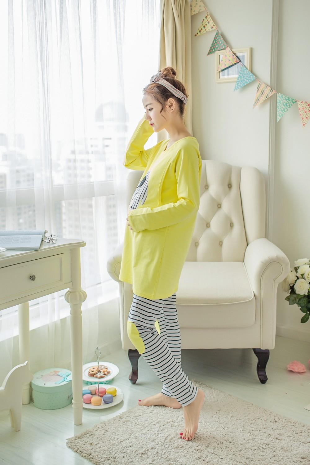 2 sztuk/zestaw Karmienie Piersią Nocna Opieki Macierzyńskiego Mody Macierzyńskiego Ubrania Kreskówki Piżamy Piżamy dla Kobiet W Ciąży 18
