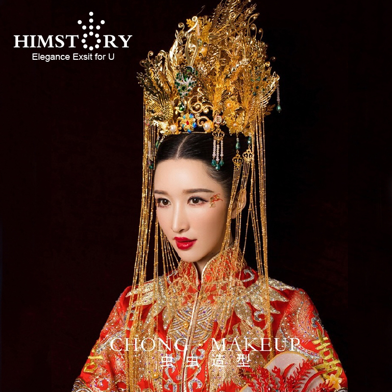 HIMSTORY Luxurious Chinese Traditional Phoenix Coronet Long Tassel Hairwear Cheongsam Bridal Headdress Wedding Hair Accessory