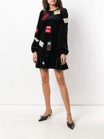 New black ruffled dress bump color splicing printing long sleeve straight F0965 round collar dress