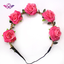 M MISM New Bohemian Floral Headbands Rose Flower Party Wedding Head Accessories Women Wreaths Stretch Hair Band Flower Garland