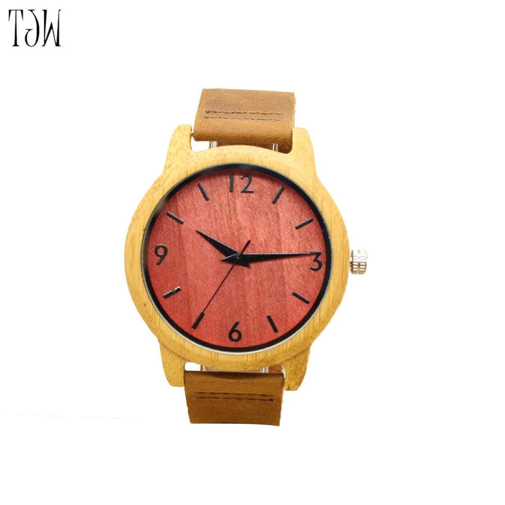TJW drveni satovi muškarci top luksuzni brand pravi kožni remen - Muški satovi