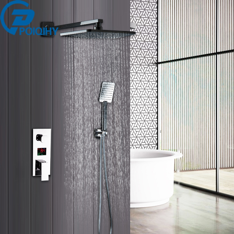 Bathroom Shower Set 2 Functions 8 Inch Rainfall Shower Head LED Digital Display Mixer Tap .Concealed Shower Faucet.