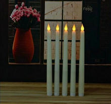 LED battery operated flickering flameless Ivory taper candle stick