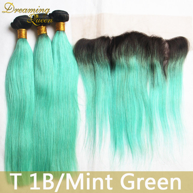 T1b Mint Green Mongolian Virgin Hair Extensions 8a Straight Ombre