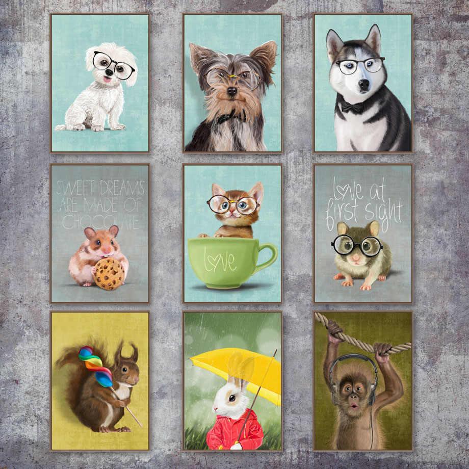แมวสุนัขกระต่ายหมูลิงแผ่น Wall Art ภาพวาดผ้าใบ Nordic โปสเตอร์และพิมพ์ภาพผนังสัตว์เด็กห้อง home Decor