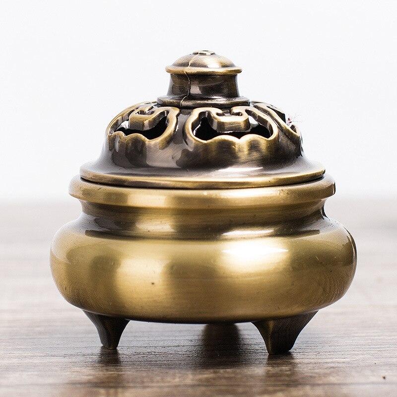Cuivre pur ménage trois pieds plaque cuivre brûleur d'encens Antique parfum thé cérémonie encens bois de santal encensoir