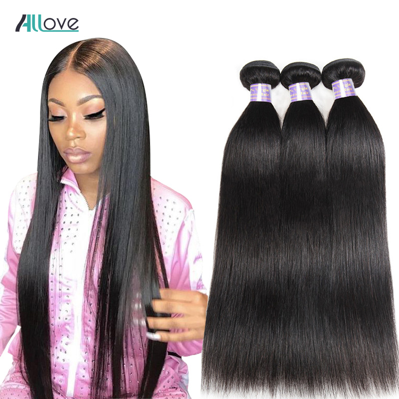 Allove Straight Hair Bundles Brazilian Hair Weave Bundles 100% Human Hair Bundles Natural Color Non Remy Hair Weave 1/3/4 Pieces(China)