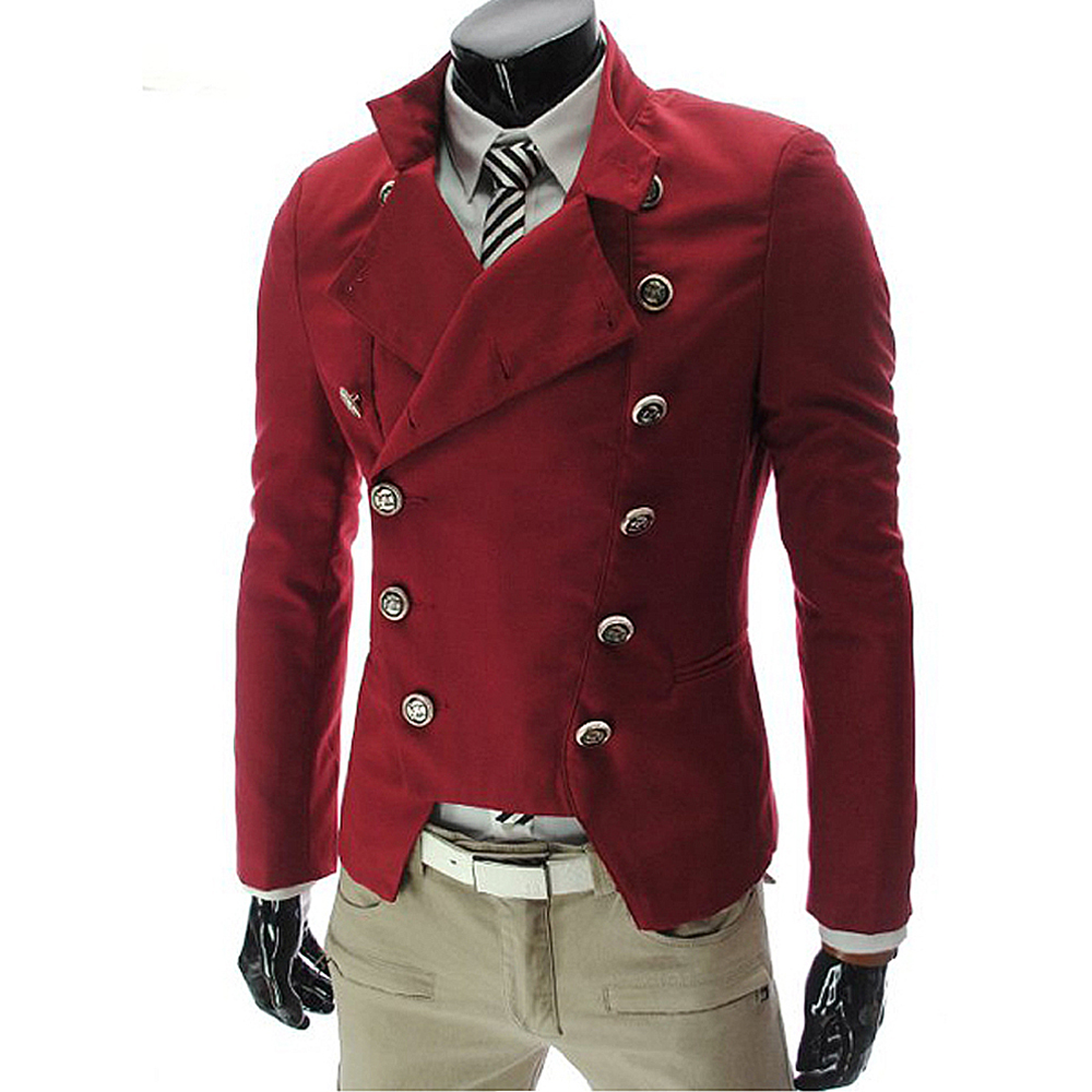 Red Black White Hombre Blazer Men Double Breasted Slim Fit Vintage Mens Blazers Jacket Youth Long Sleeve Stand Collar Brand Coat