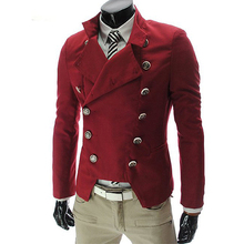 Red Black White Hombre Blazer Men Double Breasted Slim Fit Vintage Mens Blazers Jacket Youth Long Sleeve Stand Collar Brand Coat slimming stylish stand collar single breasted color block edging long sleeve men s woolen blend blazer