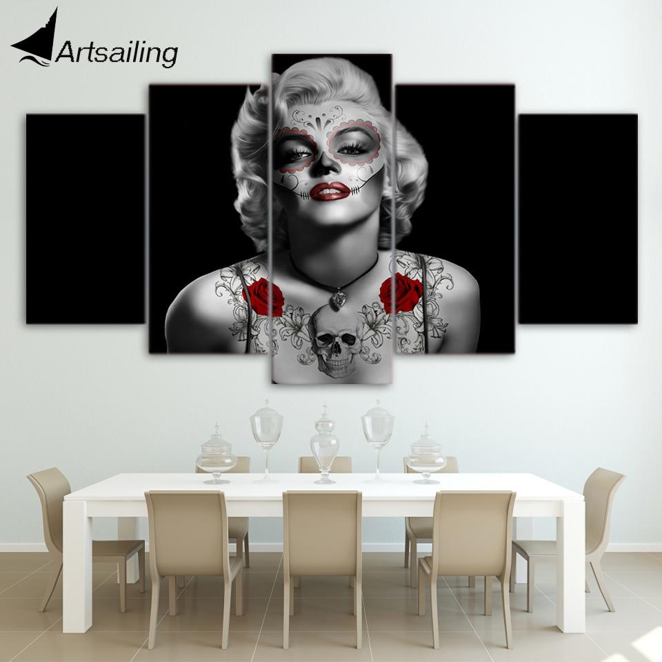 Hd printed marilyn monroe tattoo red rose painting canvas for Marilyn monroe tattoo canvas