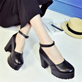 2017 Spring Summer New Arrival Pumps Shoes High Heel Round Toe Platform Pumps 6.5 CM Women Square Heel Buckle Shoes