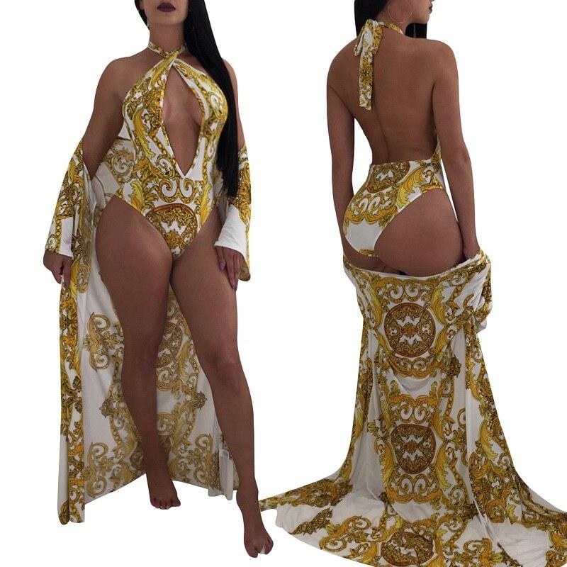IASKY 2PCS/SET Sexy Cover Up + Swimsuit Set 2018 Retro Print Women Cover Ups & one piece swimwear Robe De Plage
