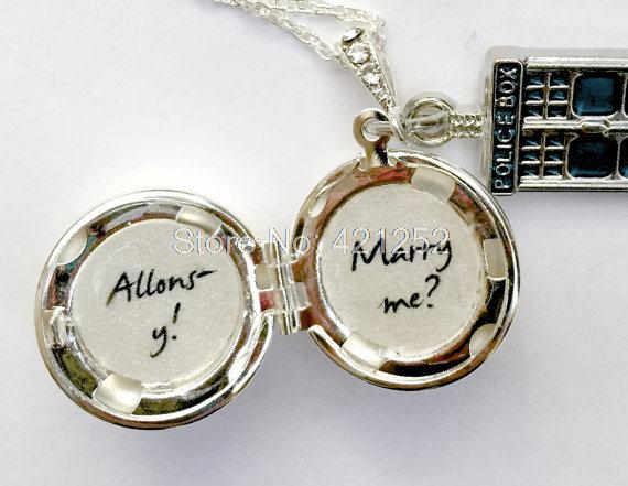 12pcs/lot doctor who inspired Necklace Marry Me Allons-y Blue Box tardis charm Locket Necklace silver tone