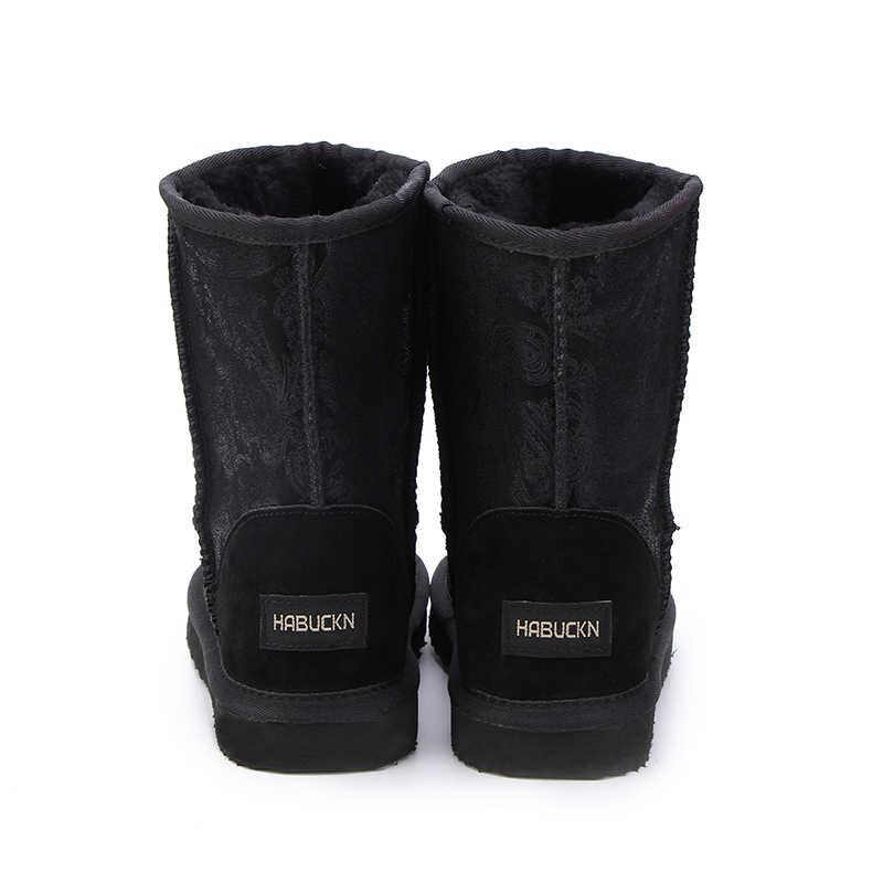 HABUCKN 2018 Stile Caldo di Vendita 100% Del Cuoio Genuino di Modo di Inverno Delle Ragazze Stivali Da Neve Per Le Donne Scarpe Inverno Caldo di Trasporto Libero