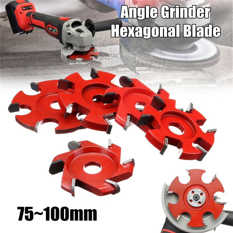 Red 75-100mm Right Angle Fillet Disc Hexagonal Blade Tea Tray Blade For 16mm Aperture Angle Grinder Wood Carving Grinder Blade