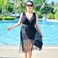 RUTIGEFU New Tassel skirt Sports Bathing Ladies One piece Swimsuit Plus Size Female Skirt Lace Swimsuit Hot Water Swimwear 7XL