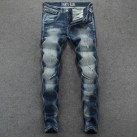 2018 Waterwashed Blue Ripped Jeans Men Pants High Grade Brand Stretch Trousers Men S Moto Biker