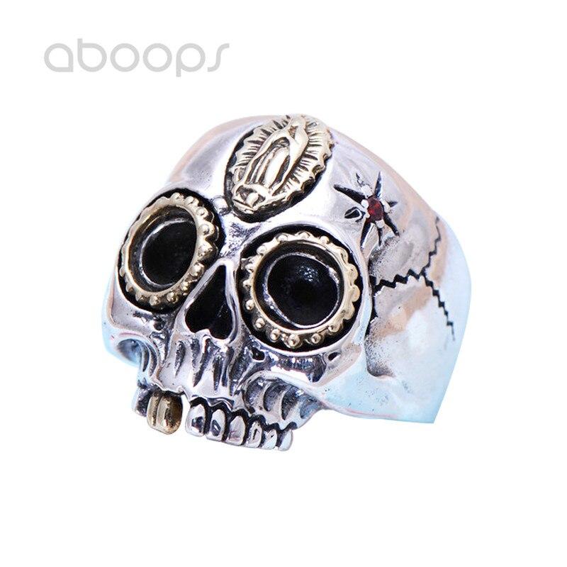 Vintage 925 en argent Sterling Biker crâne anneau bijoux incrusté or mère vierge marie pour hommes taille 8.5 9 10 livraison gratuite