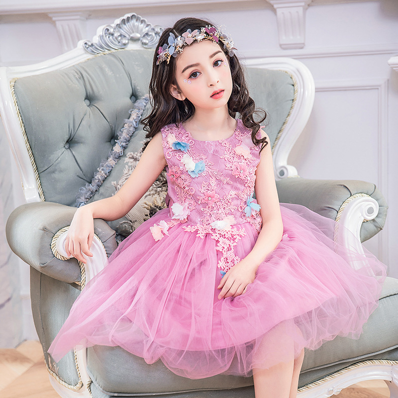 Princess Flower Girl Dress Summer Tutu Wedding Birthday Party Dresses for Girls Children's Costume Teenager Prom Designs CC778 blue&pink white princess girl tutu dress children girls wedding birthday photo party costume tutu summer clothes for girl 2 14y