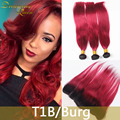 1B Burgundy 8A Mink Ombre Brazilian Hair Weave Bundles 1B 99J With Frontal Brizilian Straight Ombre Hair Extensions With Closure