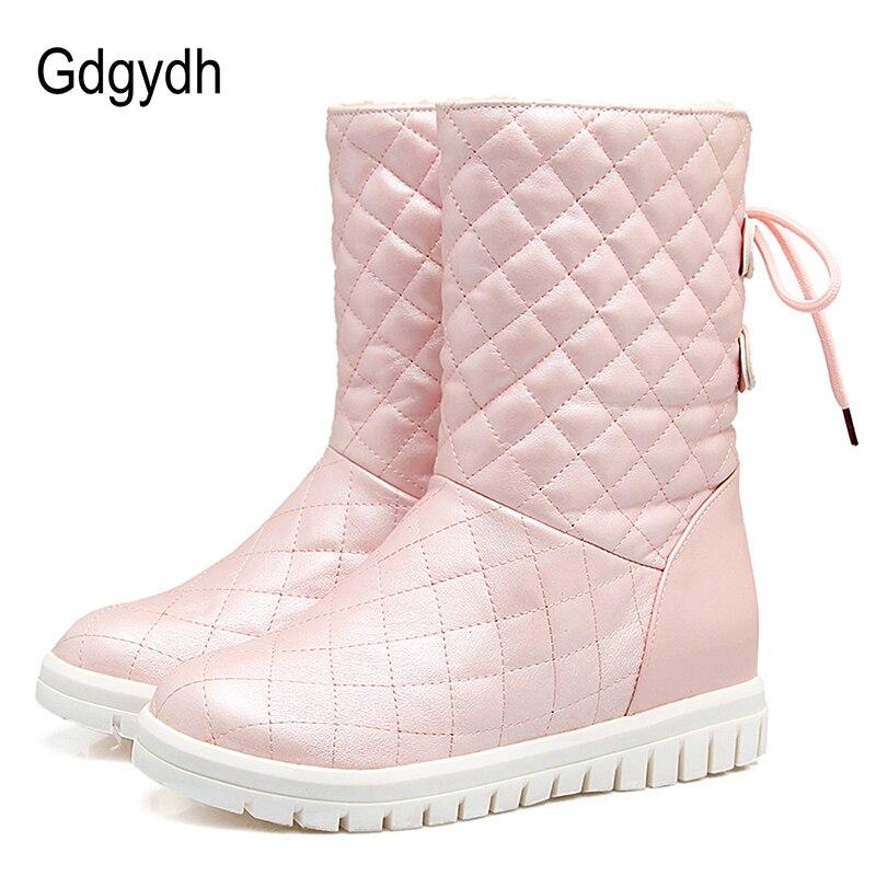 Gdgydh Comfortable Women Snow Boots Plush Inside Winter Warm Shoes Woman 2017 New White Outerwear Shoes Female Plus Size 43