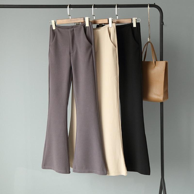 High-waisted Solid color slim trumpet   pants   2019 woman bottoms winter autumn Loose   pants     capris   Women   pants   casual female