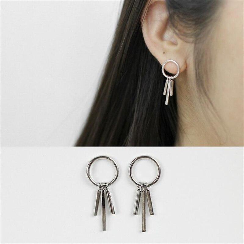 925 Sterling Silver Jewelry Punk Style Geometric Hollow Round Drop Earrings for Women boucle d'oreille femme 2018