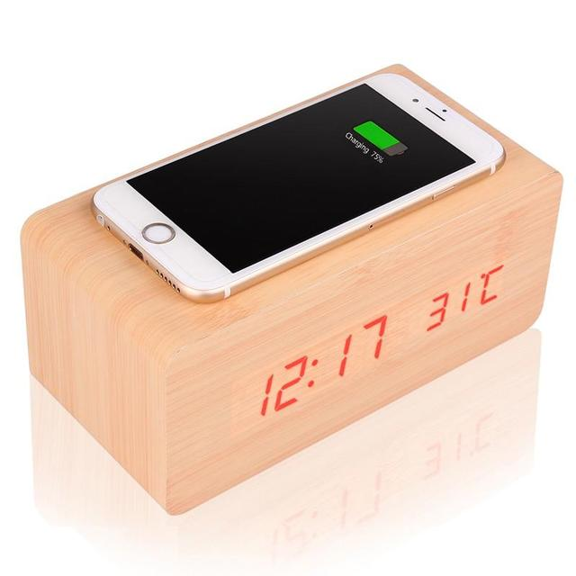 Multifunctional Wooden alarm clock wireless charger Wood timer Thermometer Calendar bamboo wireless QI charging for Smart phones