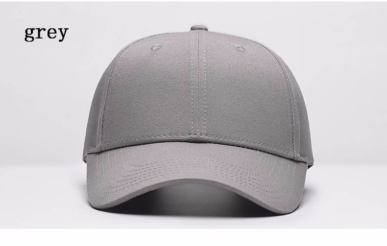 Solid Color Adjustable Baseball Cap - Grey Cap Front Angle View