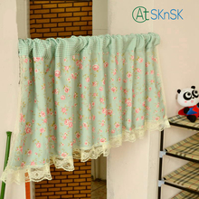 Good look Fashion elegant Pastoral style semi-shade home decoration curtain Kitchen window curtain short curtains green 50*150cm