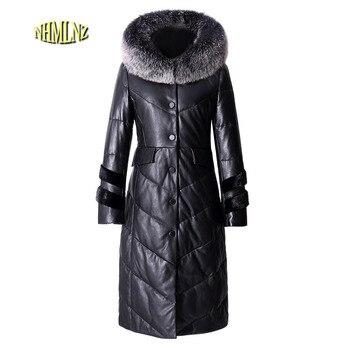 dbaeaa6d50814 2019 Kış Yeni Aşağı Hakiki deri Ceket Orta Uzun Kapşonlu Moda Yüksek  dereceli Rahat Kadın Deri Ceket LH08