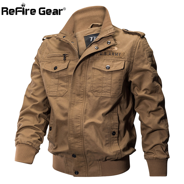 ReFire Gear Military Pilot Jackets Men Winter Autumn Bomber Cotton Coat Tactical Army Jacket Male Casual Air Force Flight Jacket