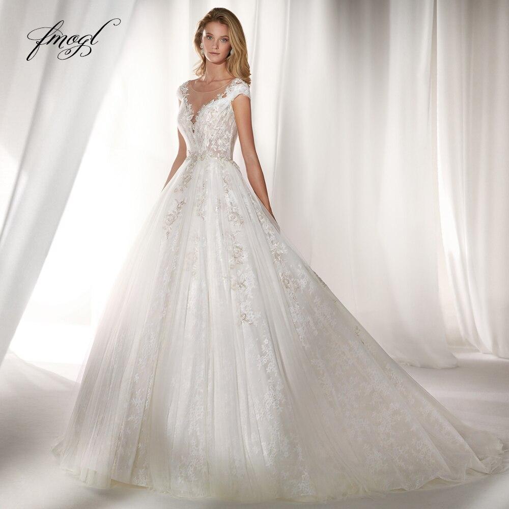Fmogl Vestido De Noiva Illusion A Line Wedding Dress 2019 Luxury Appliques Beaded Cap Sleeve Court