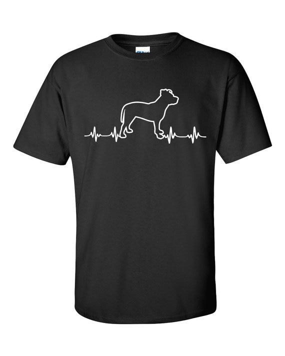 Рубашка унисекс | Идея подарка для любителей собак | Сердцебиение питбуля | Дизайн сердцебиения | Подарок питбулю | Рубашка для любителей пит...