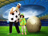 2018 Coppa del mondo Cheerleader Foot ball Soccer ball Costume Per Adulti e Bambini Calcio Cosplay Outfit Costume di Holloween per Ragazze Dei Ragazzi