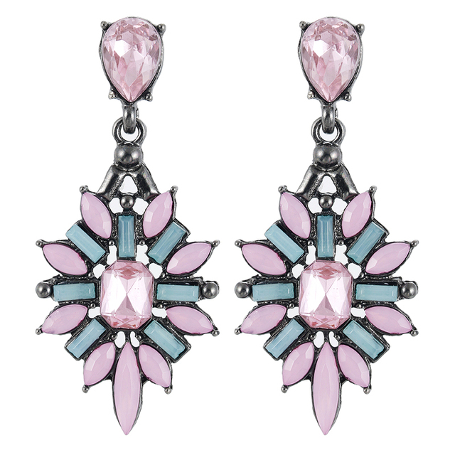 E0369 High Quality Pink Crystal Drop Earrings For Women Luxury Ear Jewelry Vintage Party Wedding